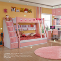 2017 Hot sale high quality Pink kids bed children bunk bedroom set is use Environmentalmaterial E1 MDF board to finished