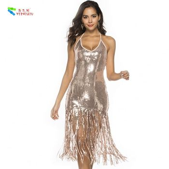 YIZHIQIU Fringed Sequin Sexy Halter Backless Bag Hip Skirt Woman Dress