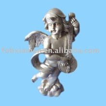 resin silver cherubs figurine