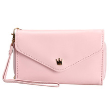 Fashion Girls Love Crown Smart Pouch Wallet PU Leather Portable Mobile Phone Bag Case