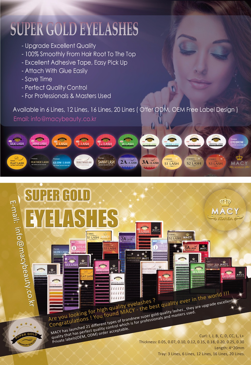 Super Gold Crystal Lash Mini Tray 3 Lines