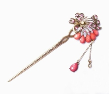 Fashion Hair Jewelry Hairpin Bohemian Resin Crystal Lovely Openwork Flower Hairpin Vertical Clip Hair Sticks