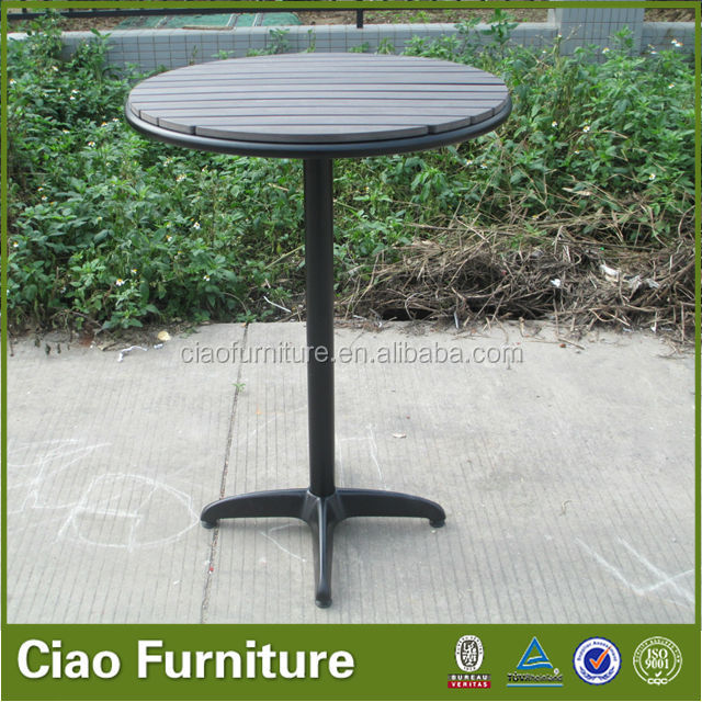 bistro furniture plastic wood top round bar table