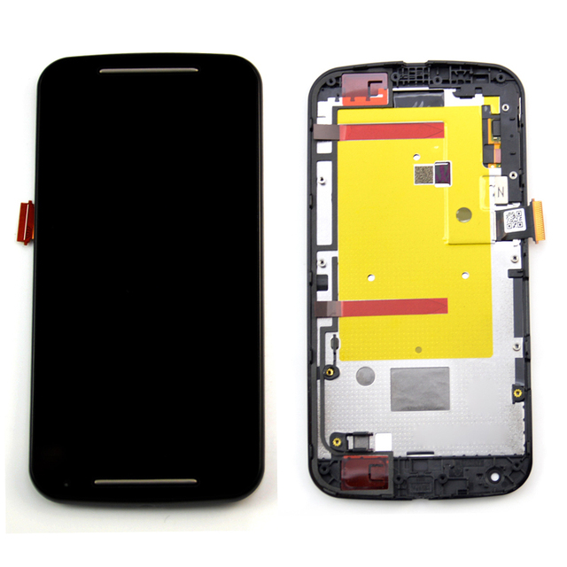 For Motorola MOTO G2 XT1063 XT1068 XT1069 Lcd display touch screen digitizer + Bezel frame + Tools , Black