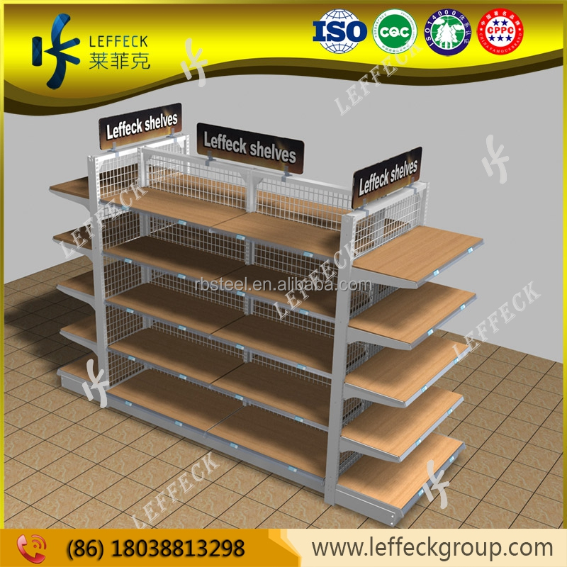Hot sale wood shelves design clothes gondola shelving