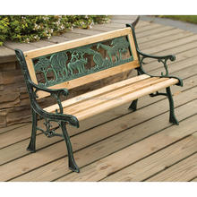 African Animals Design Kids Cast Iron Park Bench Iron Frame and Wood Slats