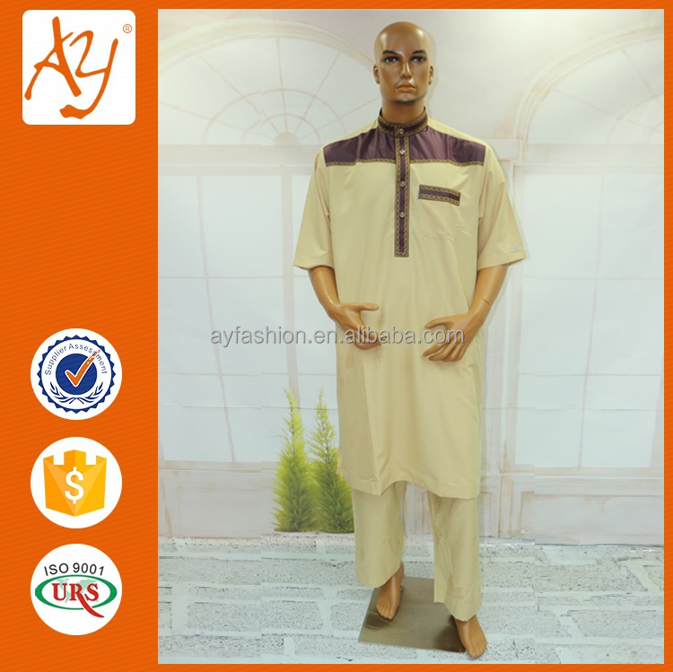 New arrival men islamic clothing saudi arabian embroidered designs thobes