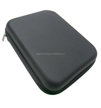 GC- Anti - shocking zippered closure black Leather mould EVA cosmetic cases