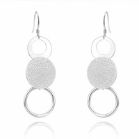2016 Handmade jewelry Dangling silver Drop Earrings, three Round circle pendant silver Earrings for women
