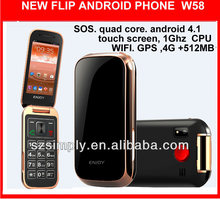 "3G 3.2"" flip android 4.1 us cellular cheap touch screen phones W58"
