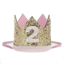 Newborn Mini Felt Birthday Crown Matching Thin Elastic Headband For Girls Hair Accessories Kids Headband
