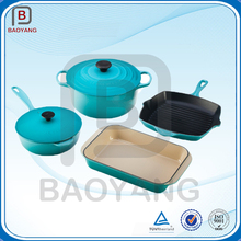 Trade Assurance 5pcs enamel coated cast iron cookware set