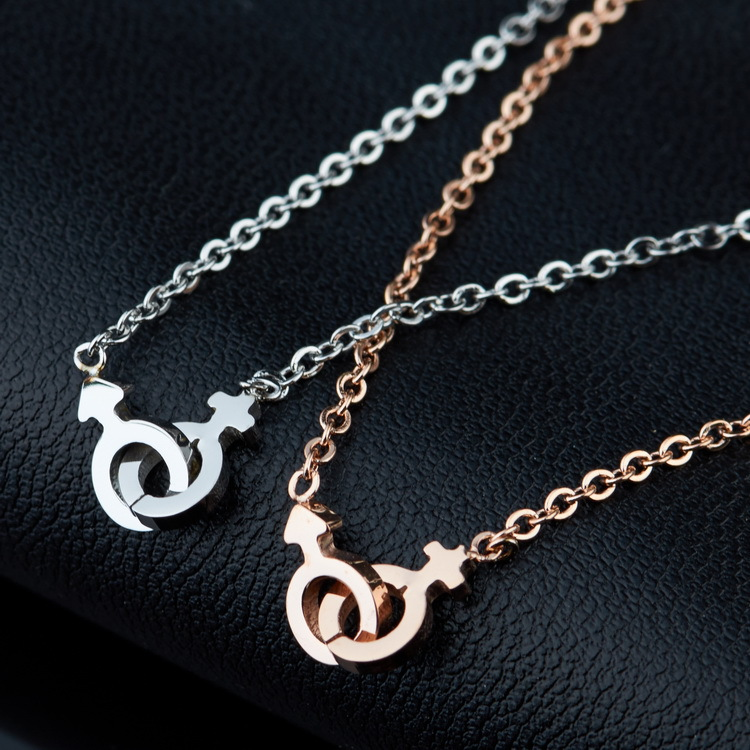 SJSG0505 Couple Pendant Necklace Stainless Steel 14K Gold Plated Men and Women's Gender Sign Pendant Necklace