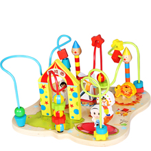 Wooden Cartoon Animals Circus Beads Maze Roller Coaster activity cube Toy for Early Educational Children Training