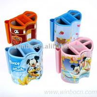 Double heart-shaped tin kids cartoon pen holder