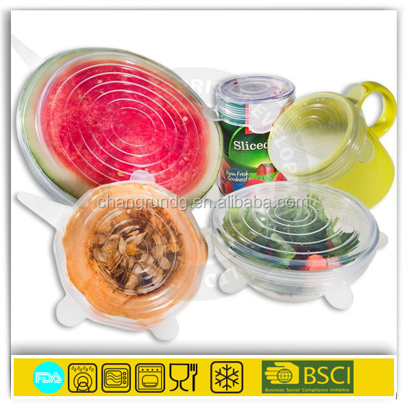 Flexible transparency clear silicone stretch lid cap seal