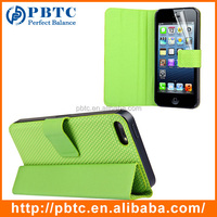 Set Screen Protector And Case For Iphone 5 , Green Hexagon Pattern PU Leather Case For Iphone