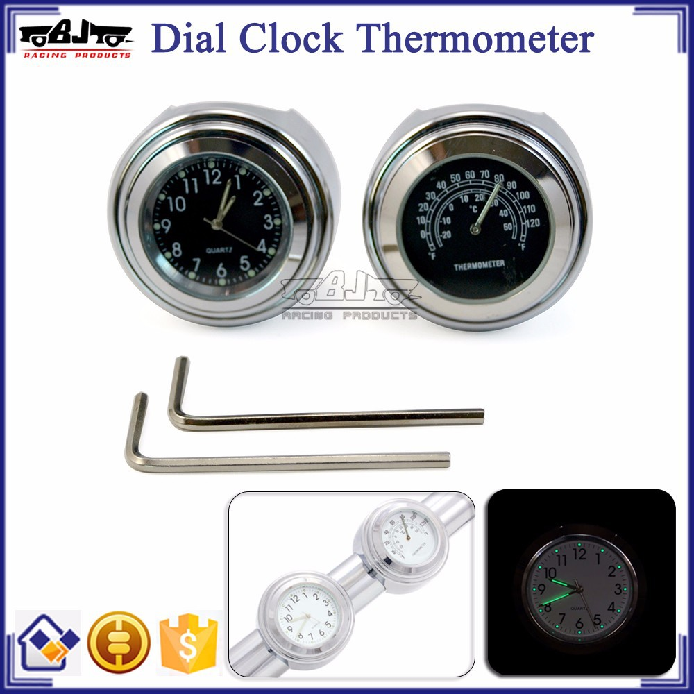 "BJ-HBW-004 Motorcycle 7/8""- 1"" Handlebar Clock and Thermometer Combo Black Dials Waterproof"