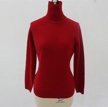 Special Design High Collar Thick Winter Women red cashmere Pullover Knitted Sweater