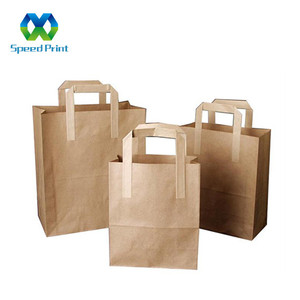 Customized size made for take away fast food paper bag craft sugar paper storage bag