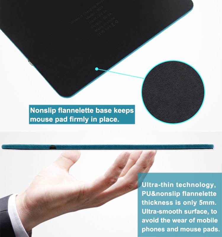 Qi Wireless Charger Mouse Pad Fast Charging For Cell Phones