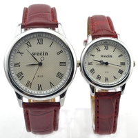 Elegance fashionable cheap watch couple thin leather watch strap