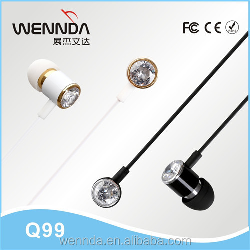 High quality crystal diamond headphone made in china earphone for samsung galaxy j6 Iphone6s