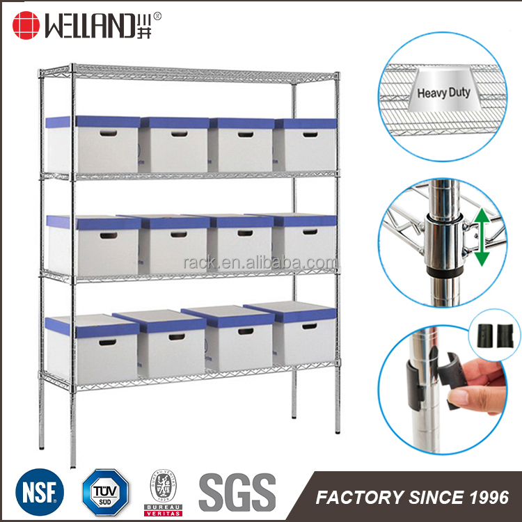 800lbs NSF Heavy Duty Chrome Metal Wire Shelving <strong>Rack</strong> For Shelf Customers