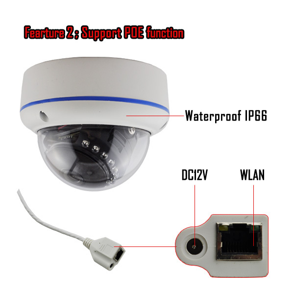 "3"" waterproof vandalproof dome 2.0Megapixel IR Waterproof IP Camera(1080P)"