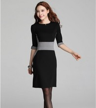 Guangzhou factory black back zipper through women dress, office ladies dress wear
