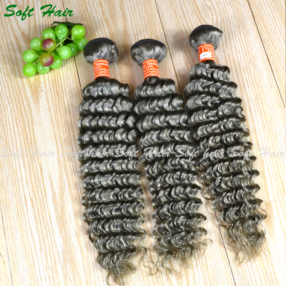 Brazilian loose deep wave hair weave wholesale hair extensions gray human hair for braiding