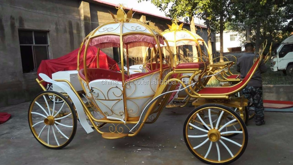 Central park pumpkin horse-drawn carriage vis a vis wedding carriage