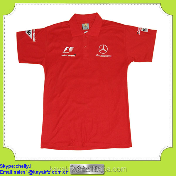 Custom embroidery cotton pit crew f racing shirts