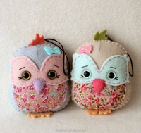 Personalized 2017 arts and crafts handmade embroidered owl couple ornaments home decoration custom christmas ornaments