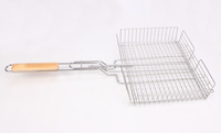 hot sell portable wood handle fried chicken barbecue wire mesh with high quality mesh net