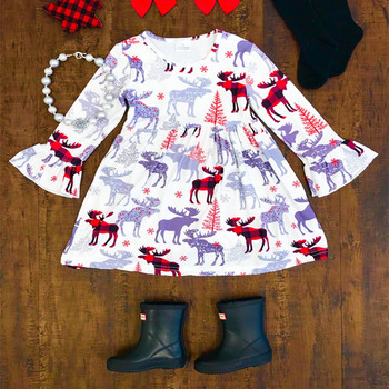 Custom made clothing winter children clothes baby cotton frocks designs boutique girl christmas dresses