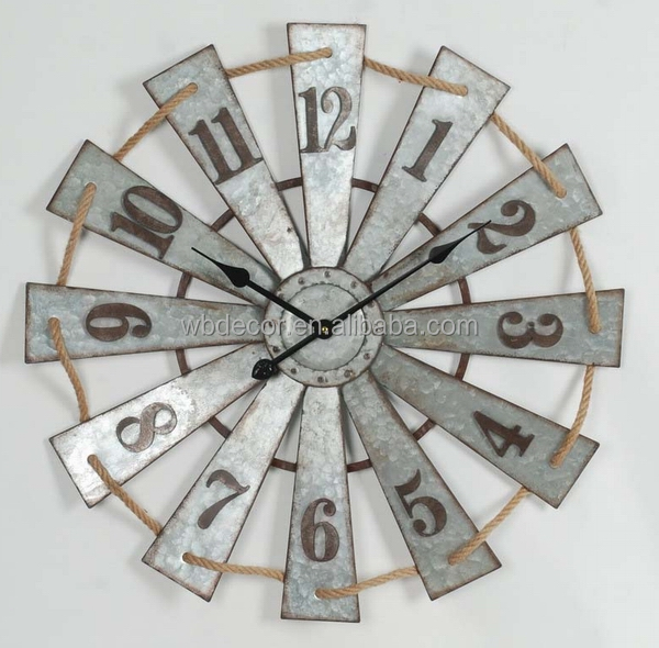 Large Galvanized Retro round clock ,Galvanized Windmill Clock , Retro Metal Windmill Wall Clock