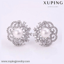 xuping jewellery imitation Women gift rhodium color double sided pearl earring