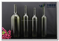 Wholesale glass bottle for wine ice wine antique green dark green clear with cork stopper