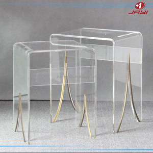 Custom made clear square to round plexiglass round table top