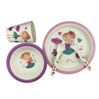 princess girl decal bamboo fibre kids meal feeder bowls baby food lunchbox tableware dinner set