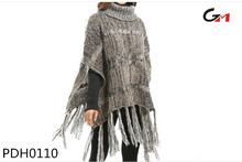 ladies high neck warm heavy knitted fall winter ponchos for women