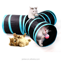 Cat Tunnel 3 Way Tunnels Extensible Collapsible Cat Play Tunnel Toy Maze Cat House with Pompon And Bells...