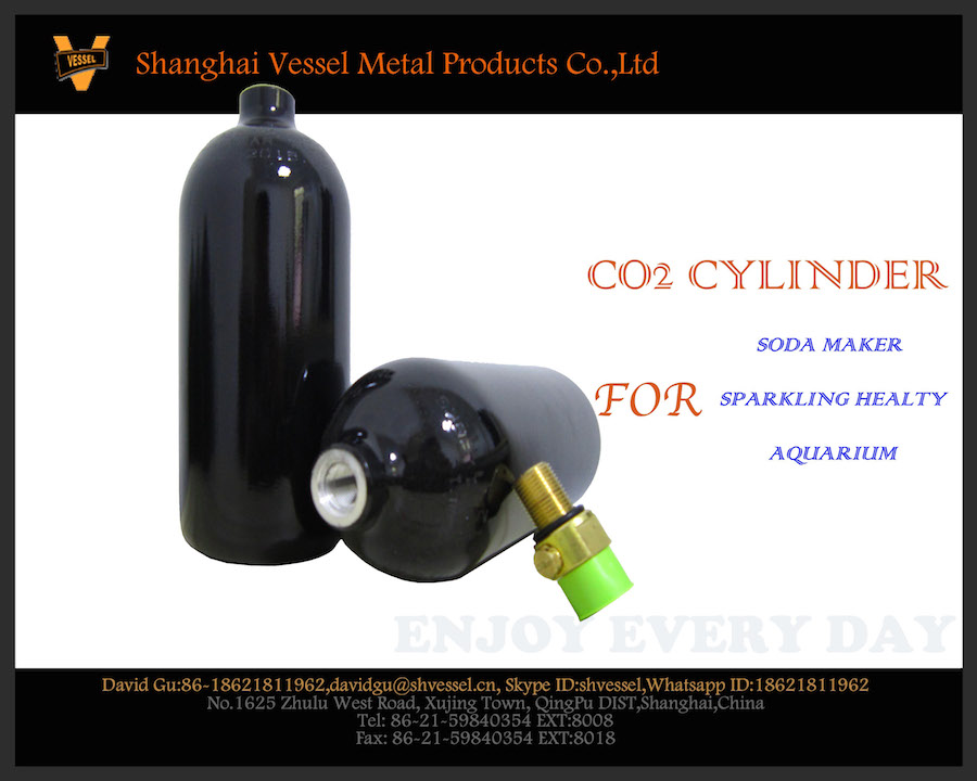 HPA Aluminum Alloy Soda Stream Style 0.74L Co2 Gas Cylinder With Valve Equipped For Soda Machine