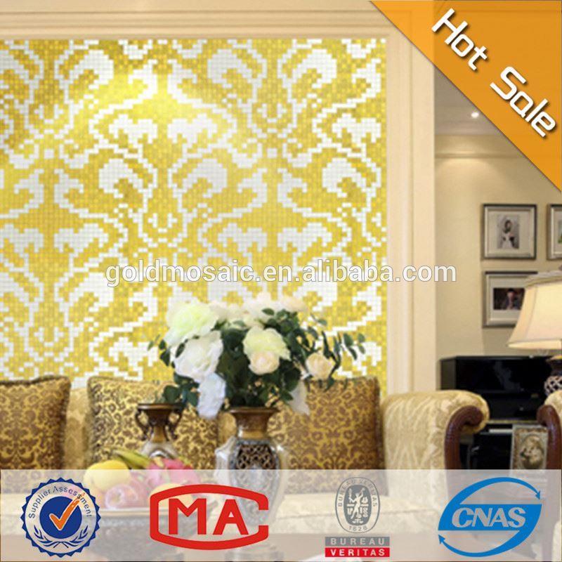 Nouveau design et populaire en europe de fleurs motif mosa que mosa que dor e motif carreaux de - Mosaique doree ...