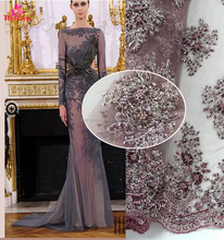 Hotting sell beaded lace fabric /3d pictures of beautiful flowers/3D embroidery lace fabric net for party and evening dress
