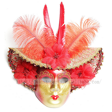 Feather Venice Big Hat Full Face Mask Wall Door Home Decoration