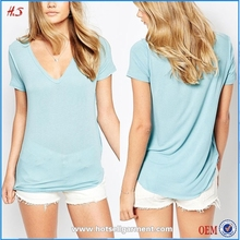 Best Seller Top Fashion Girl Elegant Blue Blank V-neck Semi-sheer T Shirt