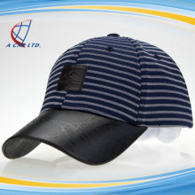 Printed PU Bill and Leather Back Strap American Baseball Cap Striped Sports Hats