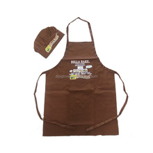 100% Cotton Twill Apron Set with Chef Hat Brown Colour Apron Set Custom Print/Embroidery Apron